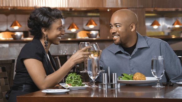 Couple having dinner and wine