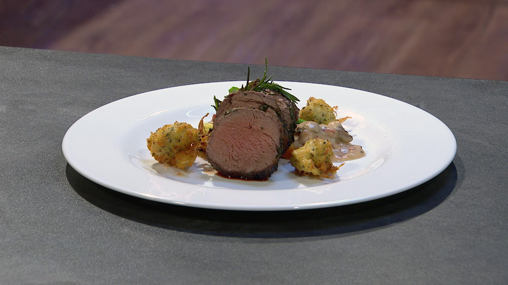 Herb Crusted Beef Tenderloin Dish