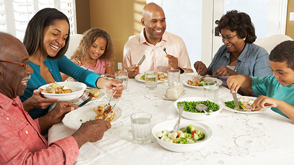 Family having a meal together at the table